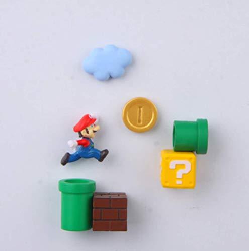 7 Unids / Set Super Mario Imán De Nevera 3D Tridimensional Mario Imán Decorativo Creativo Lindo Pegatina De Mensaje De Piedra De Hierro
