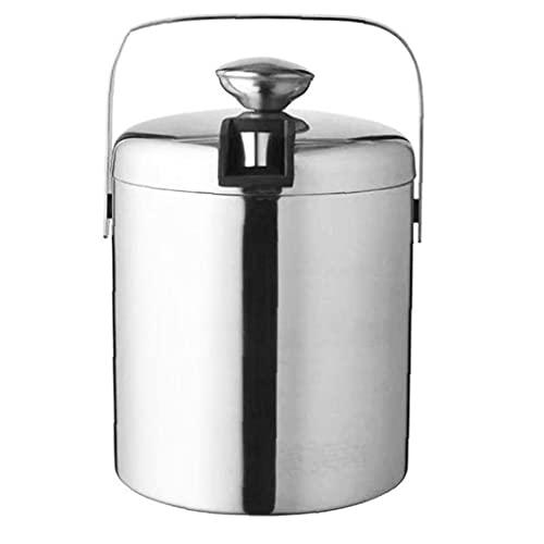 Cubo de hielo barras de acero inoxidable titular de hielo doble pared con aislamiento del cubo de hielo del envase con tapa y Pinzas 1.3L, Bar Accesorios del vino
