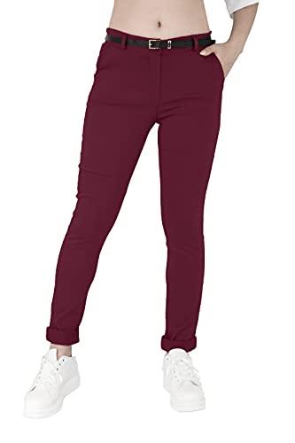 JOPHY & CO. Pantalone Donna Chino Tinta Unita (cod. 3008) (Bordeaux, L)