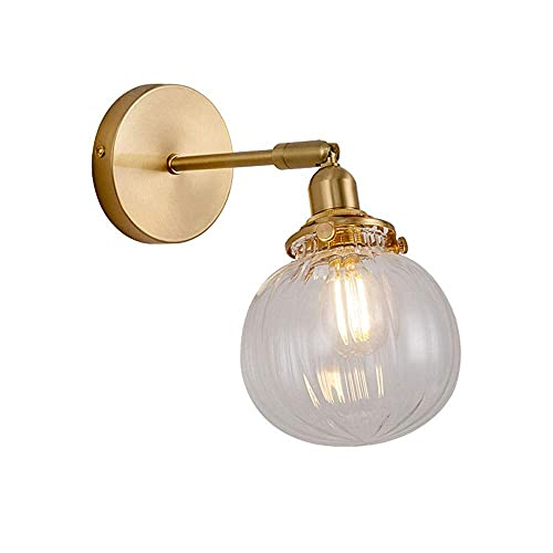 LITINGT Industrial Modern Vintage Retro Wall Lights Indoor Up and Down Adjustable Lantern with Ribbed Globe Clear Glass Light Shade E27 Fixture Wall Lamp Hard-Wired Indoor Lighting for Loft Bar Kitc