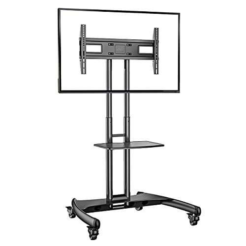Ergosolid Supporto TV da Pavimento con Ruote Carrello Staffa Porta Mobile Stand Orientabile per Schermi 32  a 70 , fino a 45,5 kg, nero