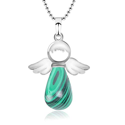 YOUHU Stone Pendant Necklaces,7 Chakras Natural Malachite Gem Lovely Angel Pendant Silver Bead Chain Cute Fortunate Elves Jewelry Valentine'S Day Gift For Girls