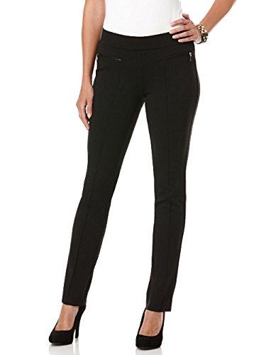 Rafaella Women's Petite Ponte Comfort Slim Leg Pant, Black, 8 Petite