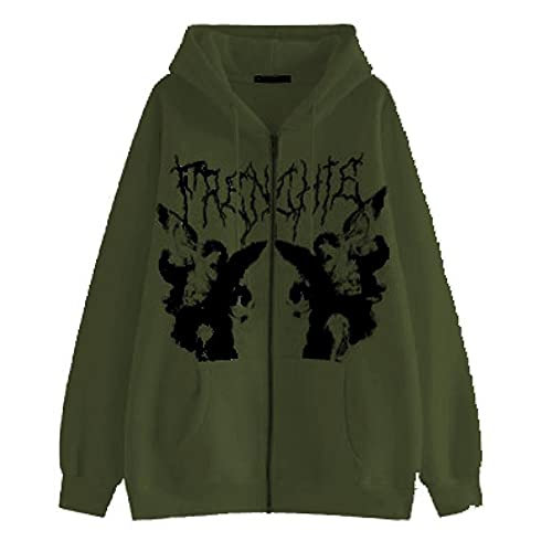 Women Oversized Y2K Vintage Zip Up Hoodie Long Sleeve Drawstring Hooded Sweatshirt 90s Aesthetic Shirts with Pockets (Ink-Green, Medium)