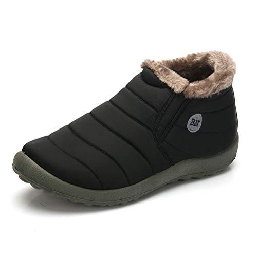 Uirend Botas de Nieve Hombre - Calentar Tobillo Pelaje Revestimiento Impermeable Espesamiento Plano Al Aire Libre Casual para Caminar Zapatos Talla Acogedor