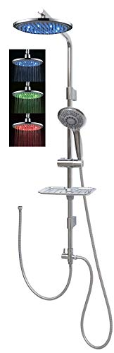 Duschset mit Led Regendusche 100cm Duschstange Handbrause mit fünf Funktionen höhenverstellbare Wandhalterung in Chrom