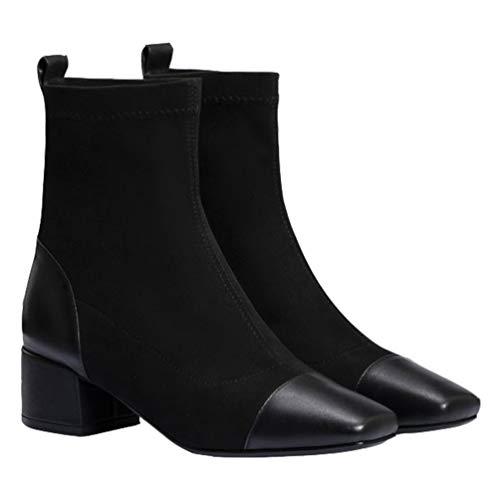 Happyyami Botas Elásticas de Tobillo para Mujer Tacón Grueso de Bloque 4. 5Cm Botines de Invierno Zapatos de Punta Cuadrada Botines Tacones Gruesos