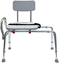 Pro-Slide Bathtub Transfer Bench and Sliding Shower Chair with Cut Out for Additional Cleaning (70311). Multiple Safety Features, Tool-Less Assembly, Height Adjustable and High Weight Capacity.