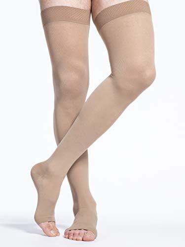 SIGVARIS Men's & Women's Essential Cotton 230 Open Toe Thigh-Highs w/Grip-Top 20-30mmHg