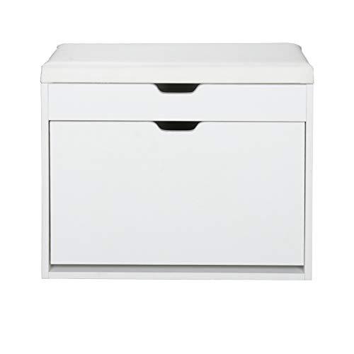 Wolketon Banco de Armario 3 compartimentos estante blanco Ajustable Estanterías para Mujer Hombre Zapatería con Asientos Acolchado para