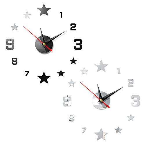 FANDE Orologio Moderno, 2PCS Adesivo Orologio da Parete Adesivo 3D per Soggiorno in Famiglia Camera da Letto Decorazione Ufficio (Argento, Nero)