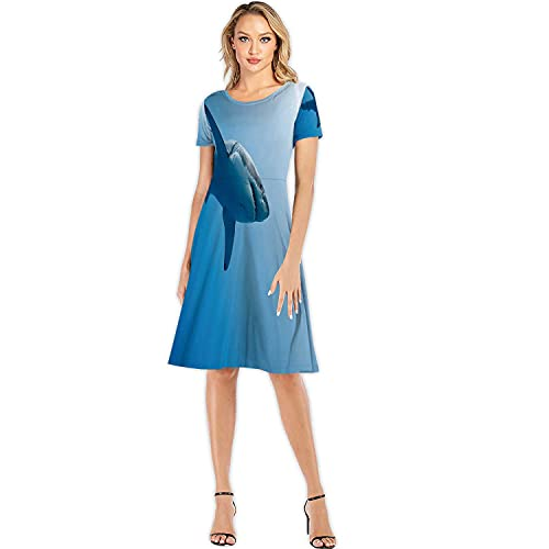 Great White Carcharodon carcharias,Custom Lady Dress Elegant Casual Dresses in Pacific Ocean Near The Coast of Island Me