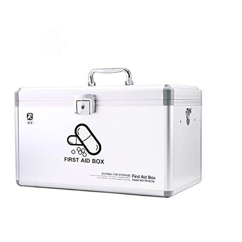 ZCX Haushalt Mehrschichtige Große Visiting Medical Box Kindernotfall Gesunde Aufbewahrungsbox Pillendosen (Color : Silver, Size : Large)