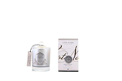 Cote Noire Blanc Garden – Jardin Blanc Bougie Parfumée dans Un Pot en Verre Argenté Ltd Edition Argent Crest