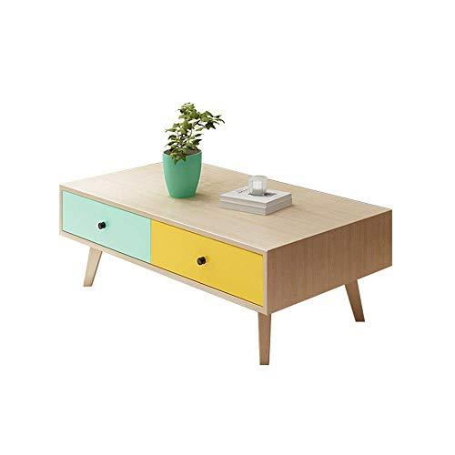 YO-TOKU Tavolino da caffè con 4 cassetti, comodino moderno con estremità arrotondata per soggiorno, camera da letto, balcone, per casa e ufficio, tavolino da caffè vintage
