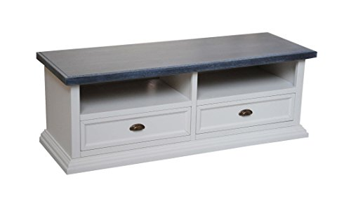 Arte Povera Meuble TV 2 tiroirs 2 compartiments à jour en bois