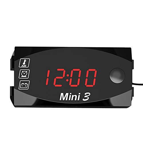 Kuinayouyi Medidor de TermóMetro Universal para Motocicleta, VoltíMetro de Reloj ElectróNico, Medidor de VisióN Nocturna LED, IP67, Impermeable, una Prueba de Polvo, Negro