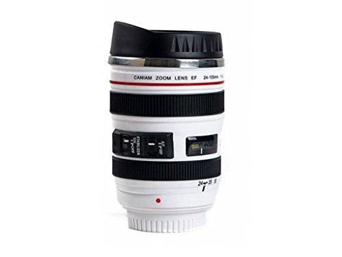 Addfun®SLR Kamera Linse Kaffee Becher Vakuum Reise Becher (Weiß 13oz, 380 ml)
