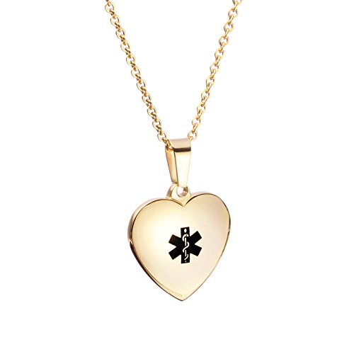 LinnaLove Rose Gold Butterfly Medical ID Necklace Charm for Girl & Boy (Free Engraving)
