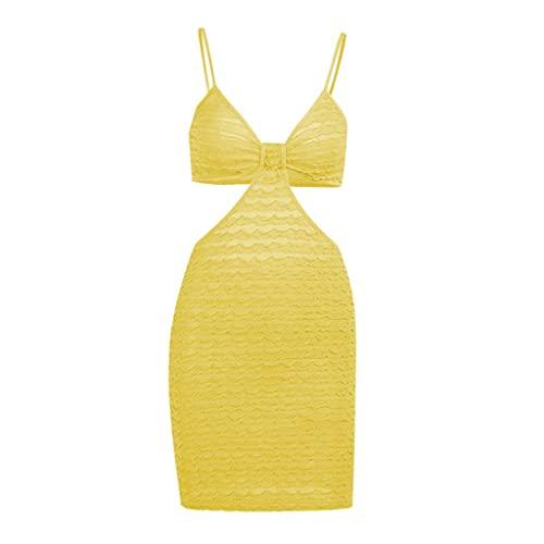 KIACIYA Vestito Y2K Aderente Donna Sexy Vestito Aderente A Pieghe Estivi Irregolare Senza Spalline Bodycon Mini Corti Fionda Natiche Ricche Elegante Casual Dress (yellow,L)