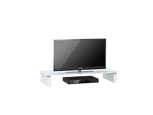 TV Board MAJA meubel televisiestandaard in wit glas 82 x 12,4 x 35 cm lowboard