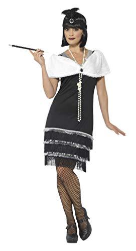 Smiffys Damen Flapper Kostüm, Kleid, Haarband und Fell Stola, Größe: 40-42, 43128