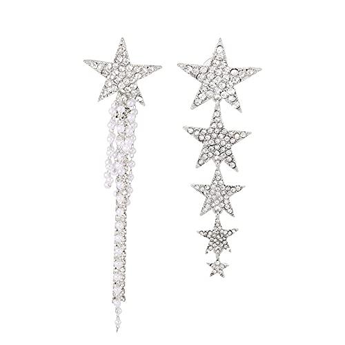 Helix Piercin - Pendientes asimétricos para mujer de cinco puntas, pendientes de borla de perlas largas