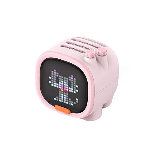 WHALLO Pixel Art Altavoz Bluetooth Altavoz inalámbrico portátil Reloj Alarma Gadget Lindo Decoración de Escritorio con Pantalla