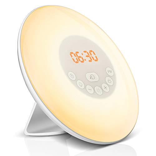 LED Lichtwecker, Elfeland Wake Up Licht Tageslichtwecker Kinderwecker Nachtlicht mit FM-Radio, Sonnenaufgangfunktion,Snooze Funktion,10 Dimmstufen Nachttischlampe ideal für Haus,Schlafzimmer,Geschenk