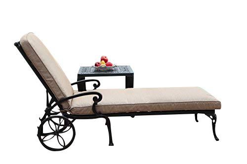 CBM Patio A Pair of 2 Kawaii Collection Cast Aluminum Powder Coated Chaise Lounge with Lite Brown Seat Cushions DS-CK01/LC