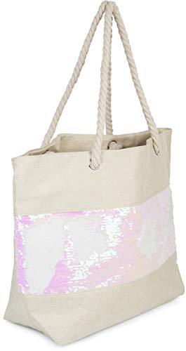 styleBREAKER Dames XXL strandtas met omkeerbare pailletten en rits, schoudertas, shopper 02012280, Farbe2:Beige/Roos-wit
