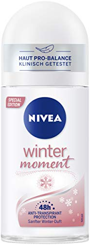 Desodorante Nivea Winter Moment Roll-On (50 ml), antitranspirante con aroma invernal, 48 horas de desodorante con protección antibacteriana.