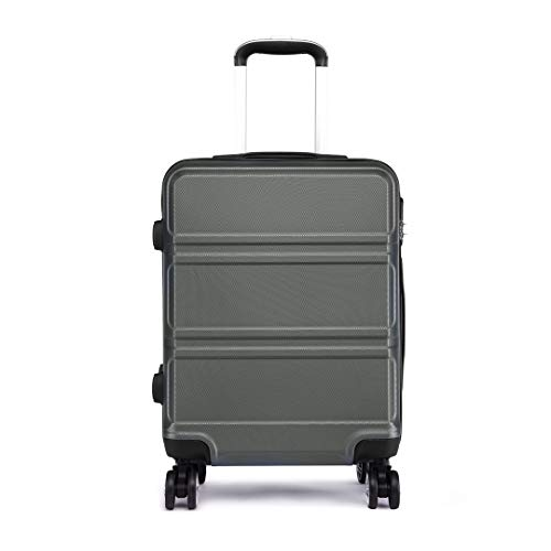 Kono 24 inch Medium Check in Suitcase Hard Shell ABS Travel Trolley Case 65cm, 61L Spinner Luggage (Grey)