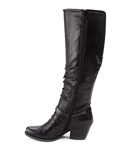 BareTraps Womens Roz Fabric Almond Toe Knee High Fashion Boots, Black, Size 7.0