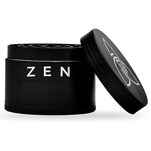Zen Basic Pollen Grinder, Crusher Set für Tabak, Kräuter, Pollen, Blüten, Gewürze mit Pollenfach & Schaber - matt Schwarz
