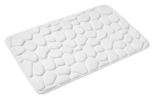 PANA Memoryschaum Badematte in versch. Farben • Badteppich aus weichen Mikrofasern - rutschfest & waschbar • Duschvorleger 60 x 100 cm • Farbe: Weiss