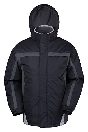 Mountain Warehouse Dusk Mens Ski Jacket - Water Resistant Winter Coat Black Medium
