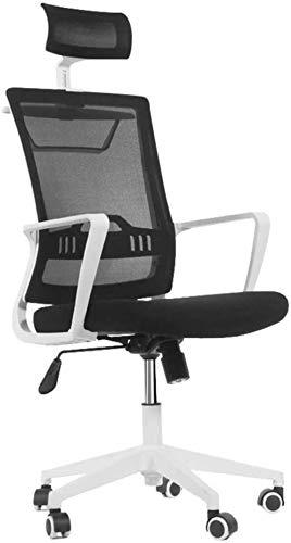 THBEIBEI Silla giratoria de oficina silla de juego silla de ordenador con respaldo alto con suspensión Elevador reposacabezas de malla transpirable Peso 200 kg 3 colores (color: blanco)