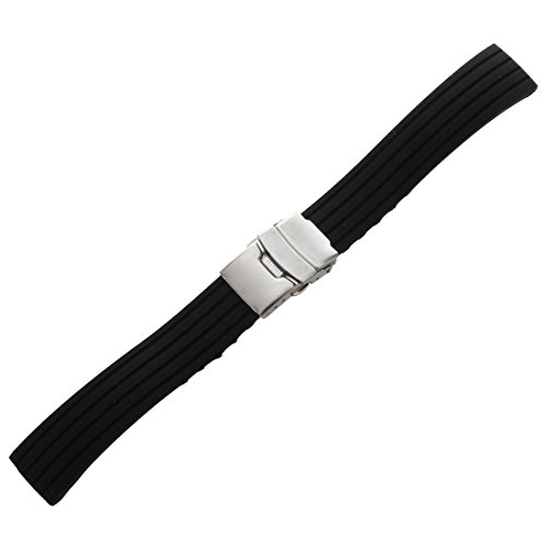 Kaxofang Silicona Reloj Correa de Caucho Band Hebilla del despliegue de 18 mm a Prueba de Agua, Color Negro