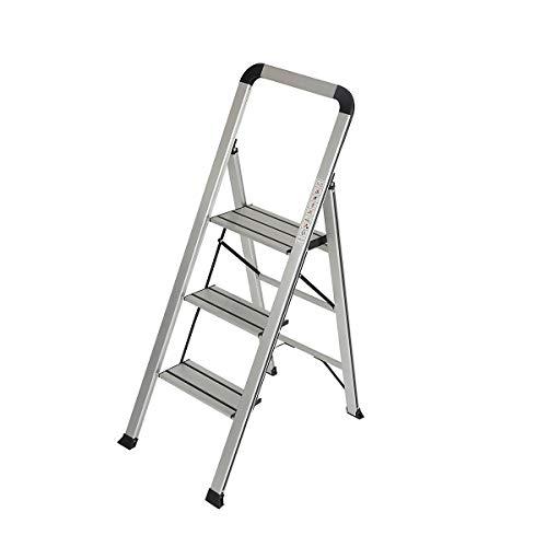 newpo Aluminium-Trittleiter   3 Stufen   150 kg Traglast   Höhe 72 cm   dünne leichte Haushaltsleiter Klapptritt stabil