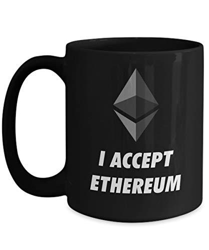 Officiell I Accepterar Ethereum Cryptocurrency Stor mugg Akryl Kaffe Hållare Svart 325 ml Crypto Miner Blockchain Invest Trade Köp Sälj Hold
