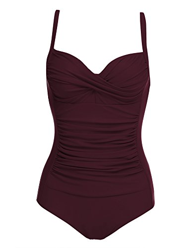 Ekouaer Bathing Suits for Women One Piece Elegant Inspired Vintage Monokinis Swimsuit(Wine Red,Medium)