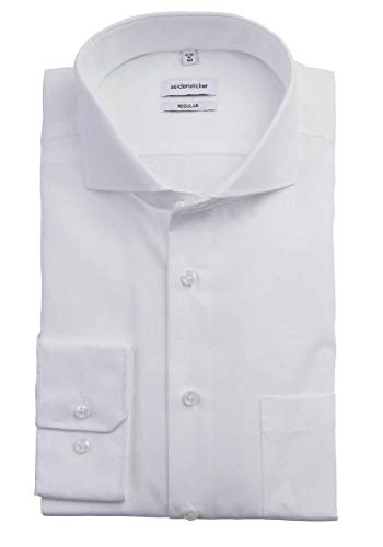 Seidensticker Herren Business Hemd Modern Fit Langarm, Weiß (01 weiß), 42