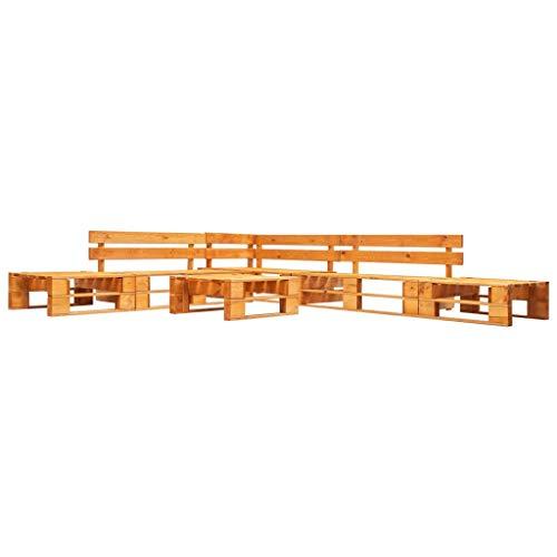 UnfadeMemory Sofa Palets Exterior o Interior con Mesa de Centro,Sofás de Exterior,Conjunto de Muebles de Jardín Patio o Sala de Estar,Madera FSC (6 Piezas,280x235x55cm, Marrón Miel)