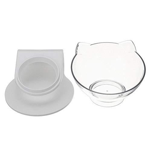 ペットボウル ペット食器 透明ペットフィーダー 15 度 餌入れ ヘルスウォーターボウル 猫 犬 うさぎ 小動物用食器 (シングル)
