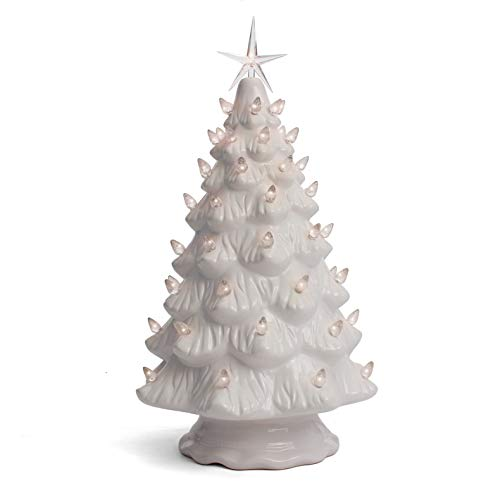 Milltown Merchants Ceramic Christmas Tree - Tabletop Christmas Tree with Lights - (15.5' Large White Christmas Tree/White Lights) - Lighted Vintage Ceramic Tree