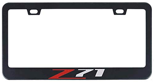 Auggies Z71 for Chevy Colorado Silverado 1500 Black Red Stainless Steel Black License Plate Frame Cover Holder Rust Free with Caps and Screws (1)