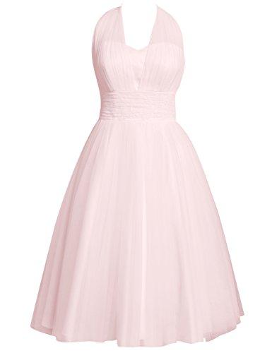 HUINI Damen Brautkleid Wadenlang Tüll Hochzeitskleid Prinzessin Neckholder Brautmode Standesamt Rückenfrei Rosa 56