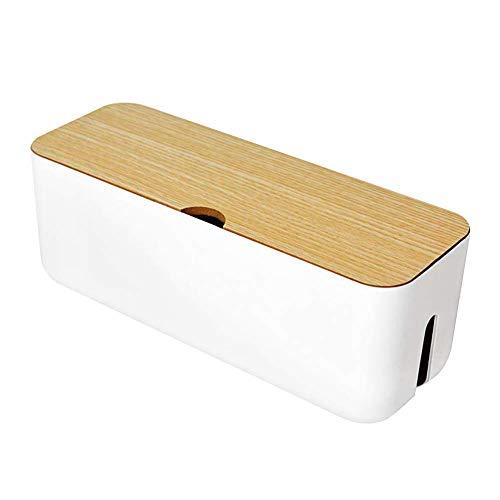 Caja de almacenamiento para cables, forma rectangular, caja para organización de cables de escritorio, antipolvo, caja organizadora de cables ideal para el hogar, blanco