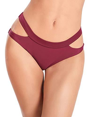 annafiiore - Italienische Designer Bademode Damen Bikinihose Bikini Panty Unterteil Cut-Out Bordeaux